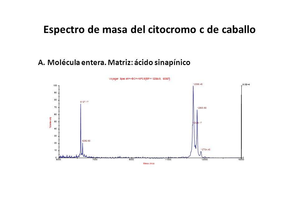 Espectro de masa del citocromo c de caballo