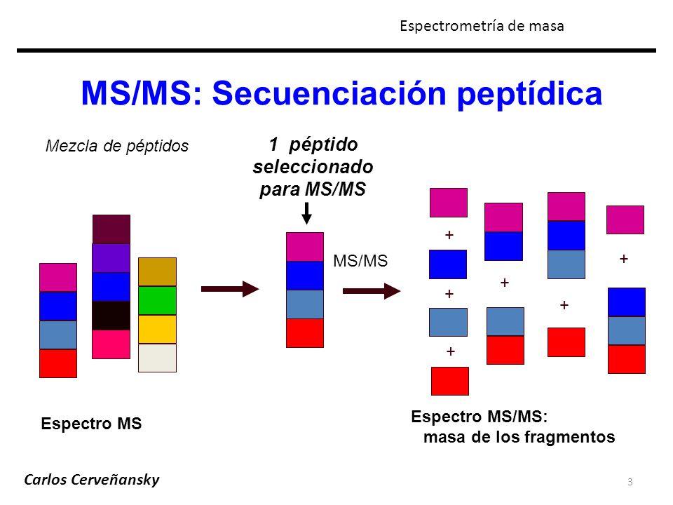 MS/MS: Secuenciación peptídica