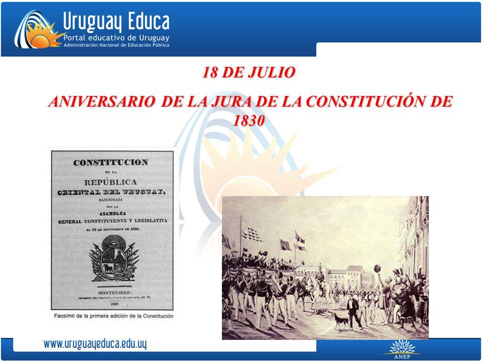 ANIVERSARIO DE LA JURA DE LA CONSTITUCIÓN DE 1830