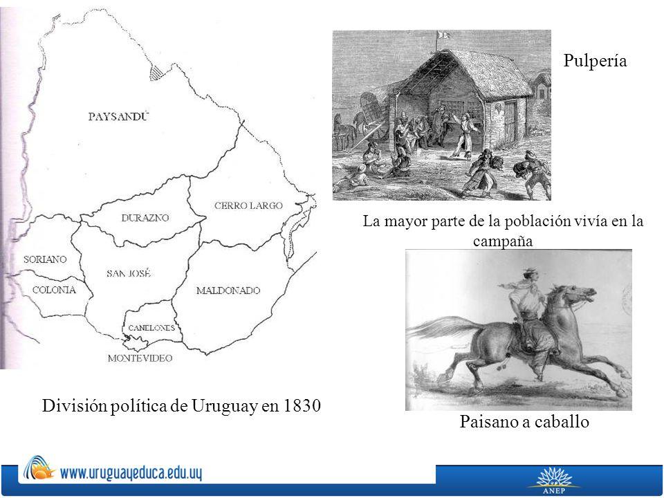 División política de Uruguay en 1830 Paisano a caballo