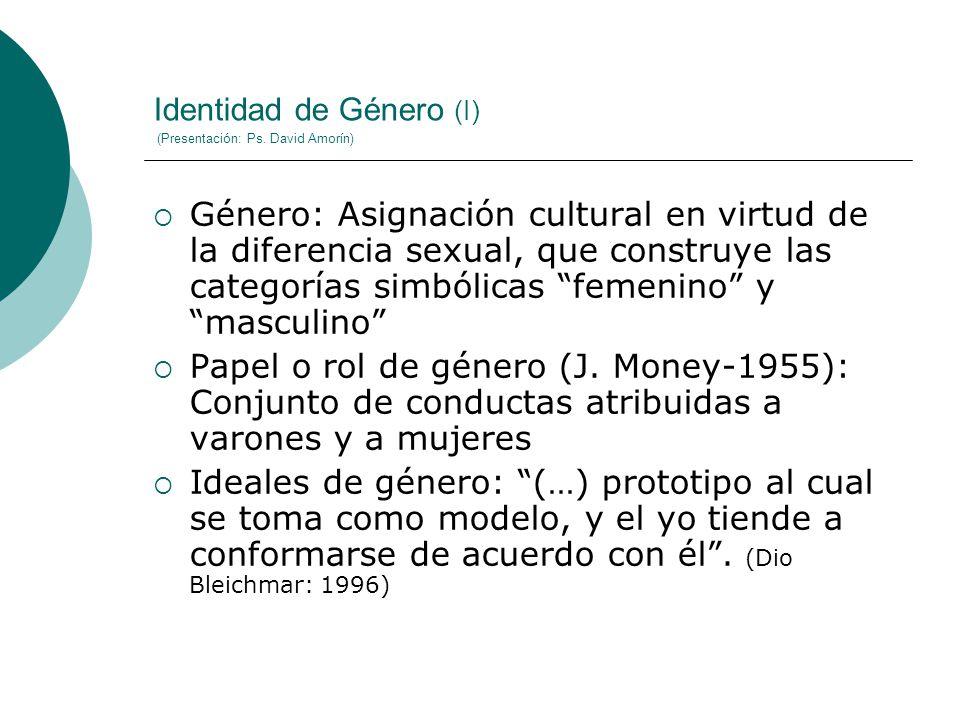 Identidad de Género (I) (Presentación: Ps. David Amorín)