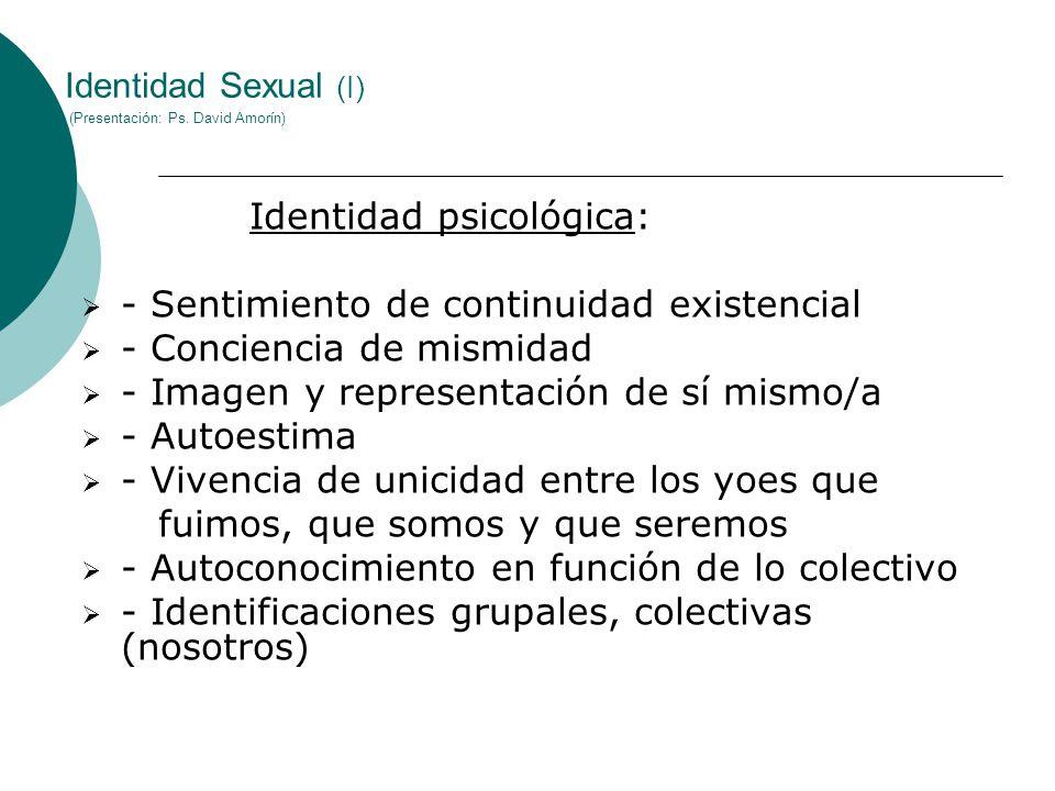 Identidad Sexual (I) (Presentación: Ps. David Amorín)