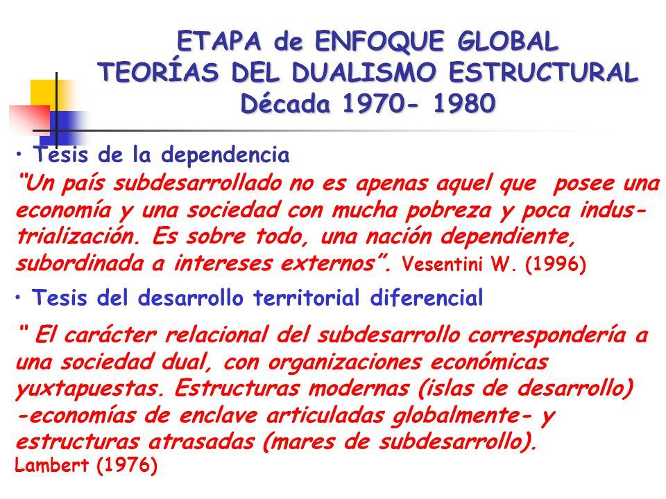 ETAPA de ENFOQUE GLOBAL TEORÍAS DEL DUALISMO ESTRUCTURAL Década 1970- 1980