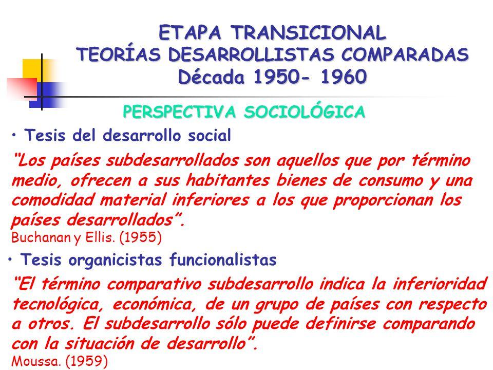 ETAPA TRANSICIONAL TEORÍAS DESARROLLISTAS COMPARADAS Década 1950- 1960