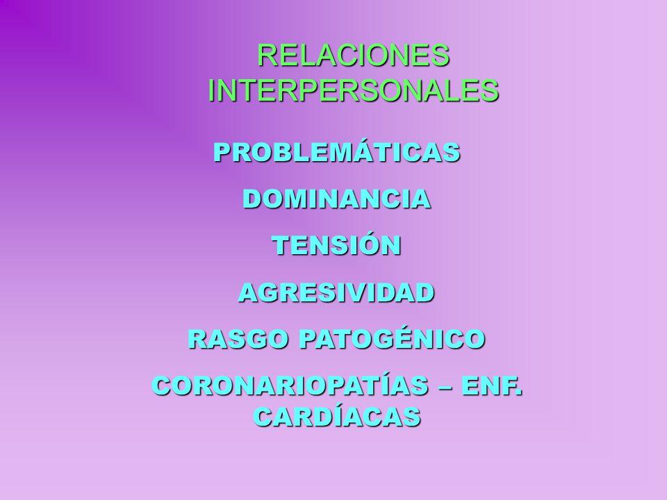 RELACIONES INTERPERSONALES CORONARIOPATÍAS – ENF. CARDÍACAS