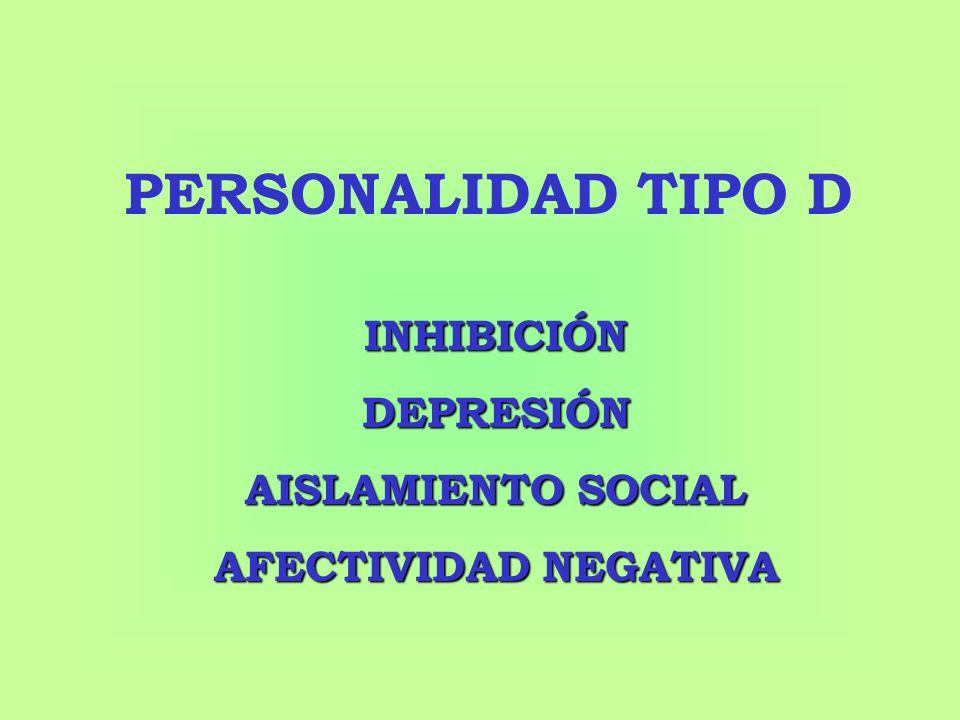 PERSONALIDAD TIPO D INHIBICIÓN DEPRESIÓN AISLAMIENTO SOCIAL