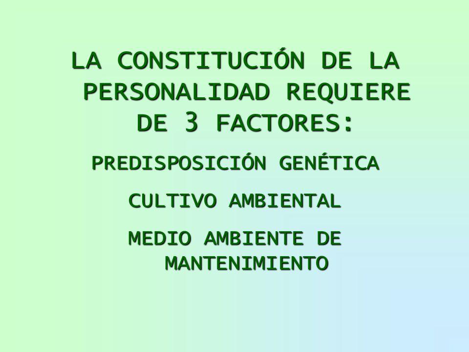 LA CONSTITUCIÓN DE LA PERSONALIDAD REQUIERE DE 3 FACTORES: