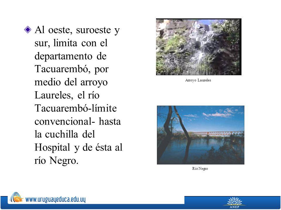 Al oeste, suroeste y sur, limita con el departamento de Tacuarembó, por medio del arroyo Laureles, el río Tacuarembó-límite convencional- hasta la cuchilla del Hospital y de ésta al río Negro.