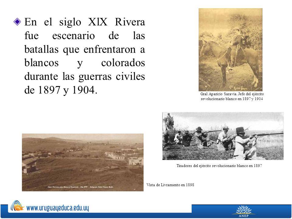 En el siglo XlX Rivera fue escenario de las batallas que enfrentaron a blancos y colorados durante las guerras civiles de 1897 y 1904.