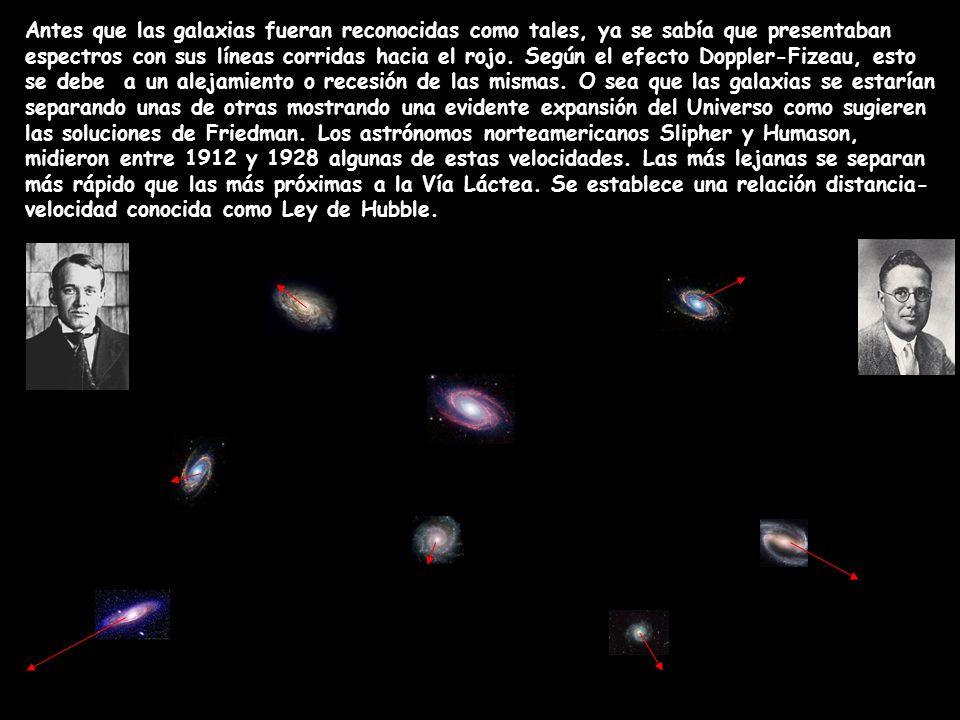 Antes que las galaxias fueran reconocidas como tales, ya se sabía que presentaban espectros con sus líneas corridas hacia el rojo.