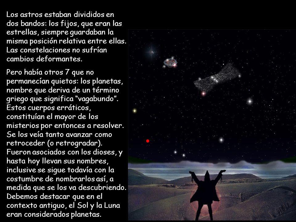 Los astros estaban divididos en dos bandos: los fijos, que eran las estrellas, siempre guardaban la misma posición relativa entre ellas. Las constelaciones no sufrían cambios deformantes.