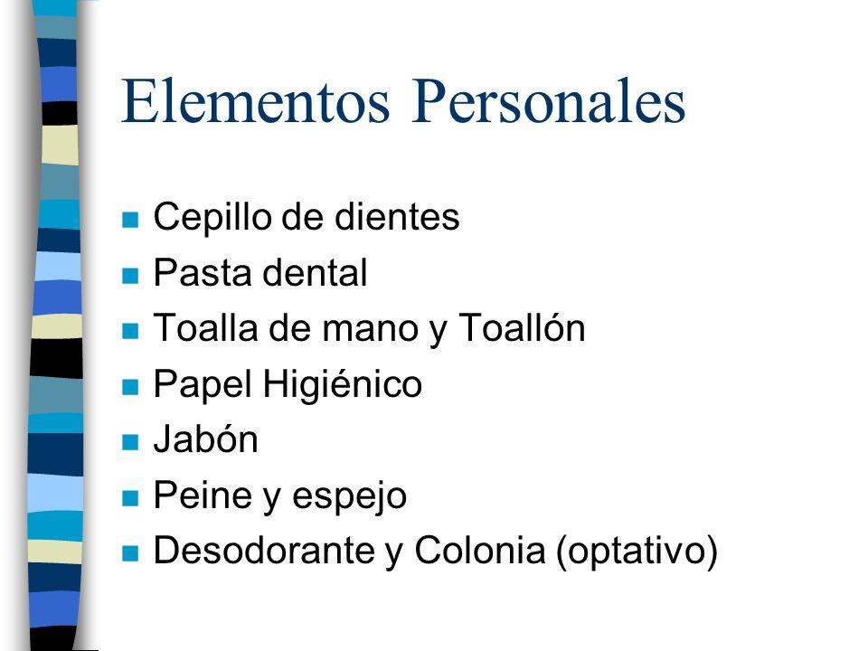 Elementos Personales Cepillo de dientes Pasta dental