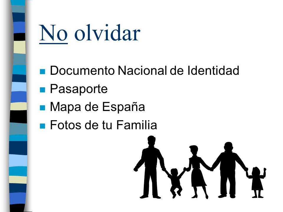 No olvidar Documento Nacional de Identidad Pasaporte Mapa de España