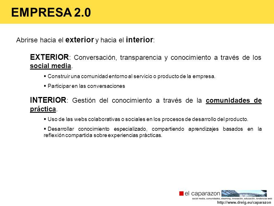 EMPRESA 2.0 Abrirse hacia el exterior y hacia el interior: EXTERIOR: Conversación, transparencia y conocimiento a través de los social media.