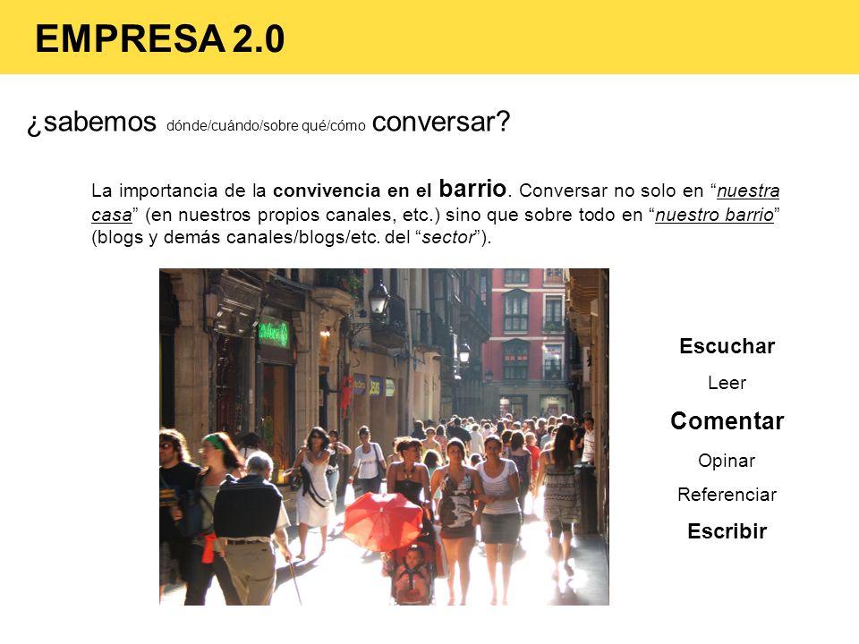 EMPRESA 2.0 ¿sabemos dónde/cuándo/sobre qué/cómo conversar Comentar