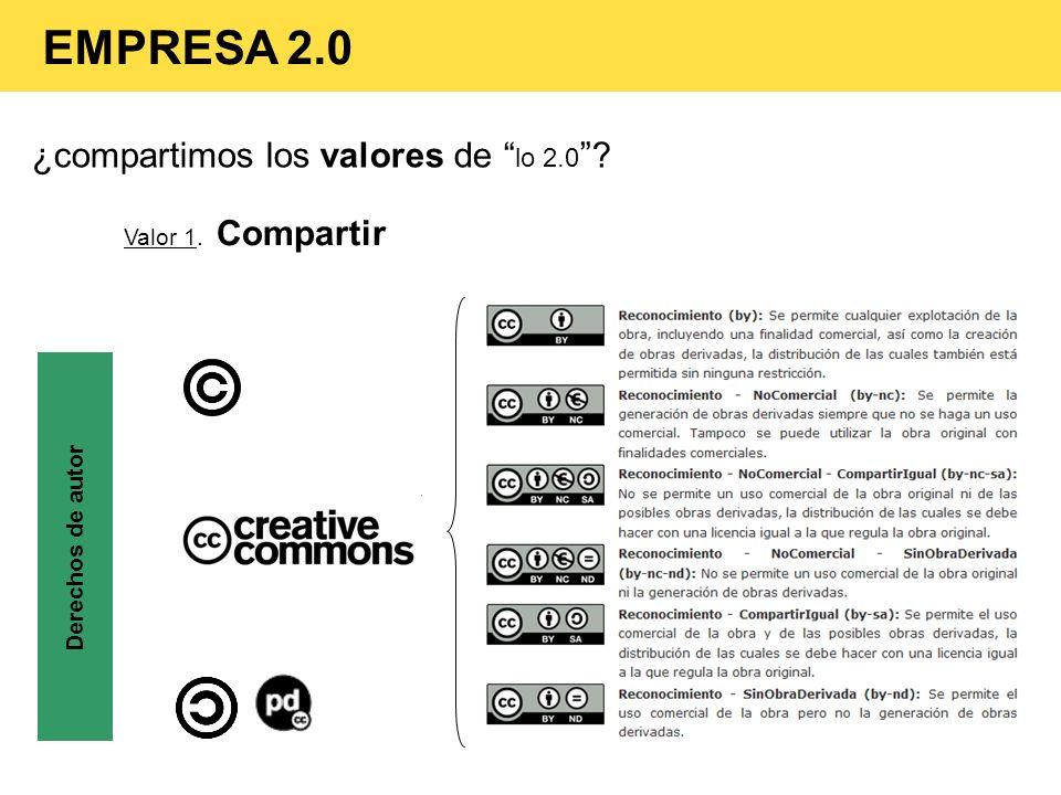 EMPRESA 2.0 ¿compartimos los valores de lo 2.0 Valor 1. Compartir
