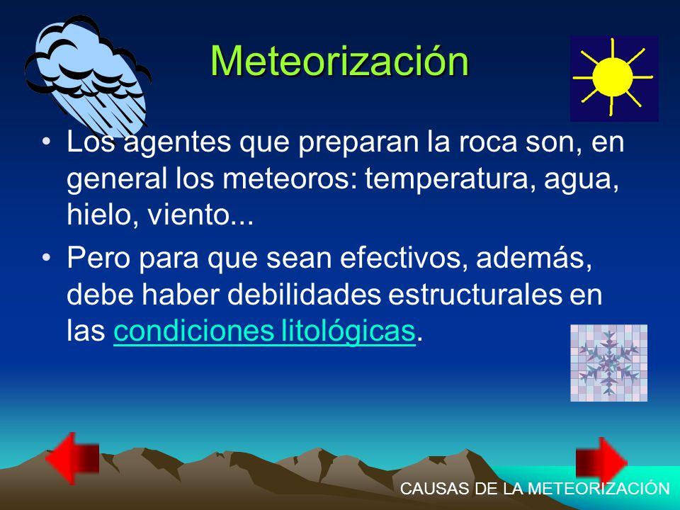 Meteorización Los agentes que preparan la roca son, en general los meteoros: temperatura, agua, hielo, viento...