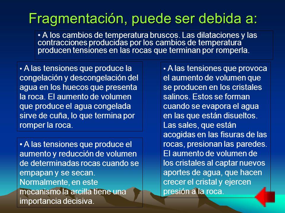 Fragmentación, puede ser debida a: