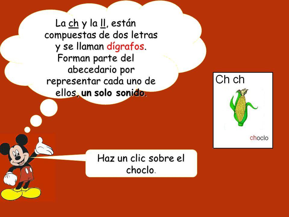 La ch y la ll, están compuestas de dos letras y se llaman dígrafos.