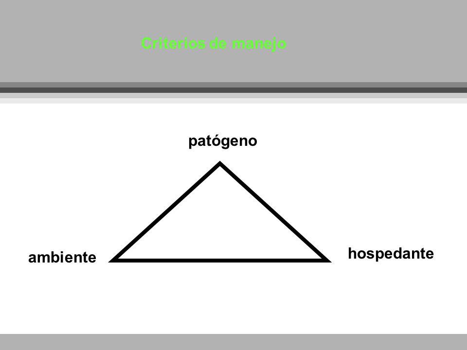 Criterios de manejo patógeno hospedante ambiente