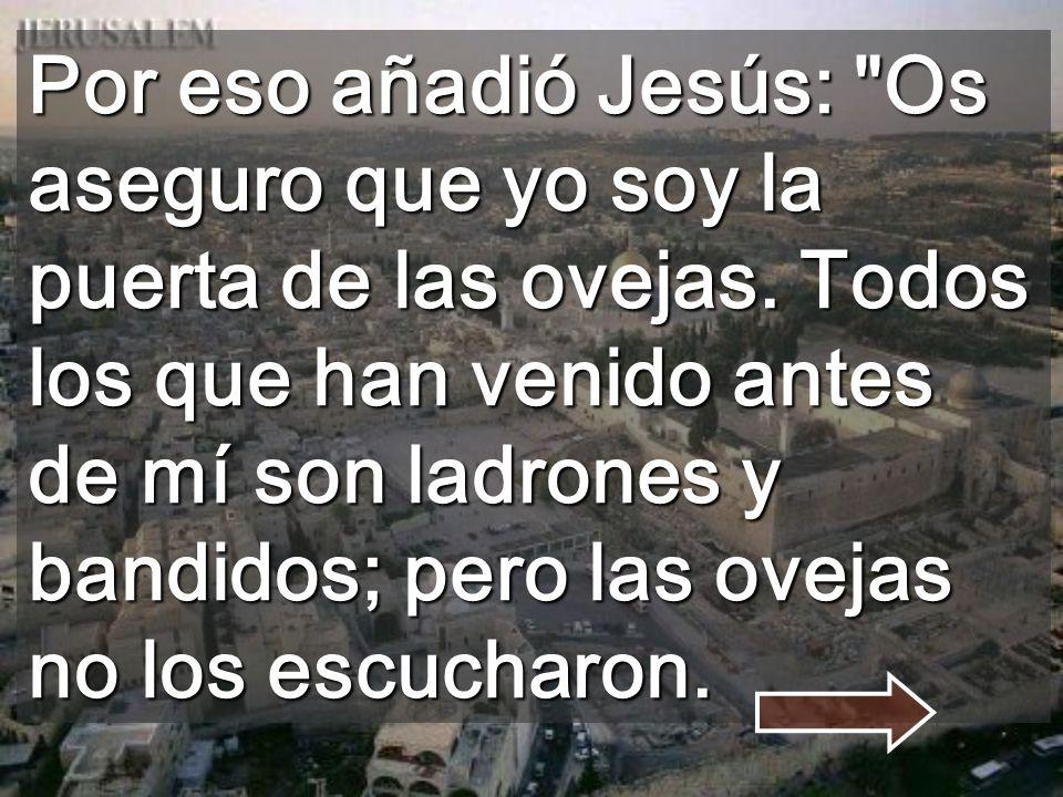 Por eso añadió Jesús: Os aseguro que yo soy la puerta de las ovejas