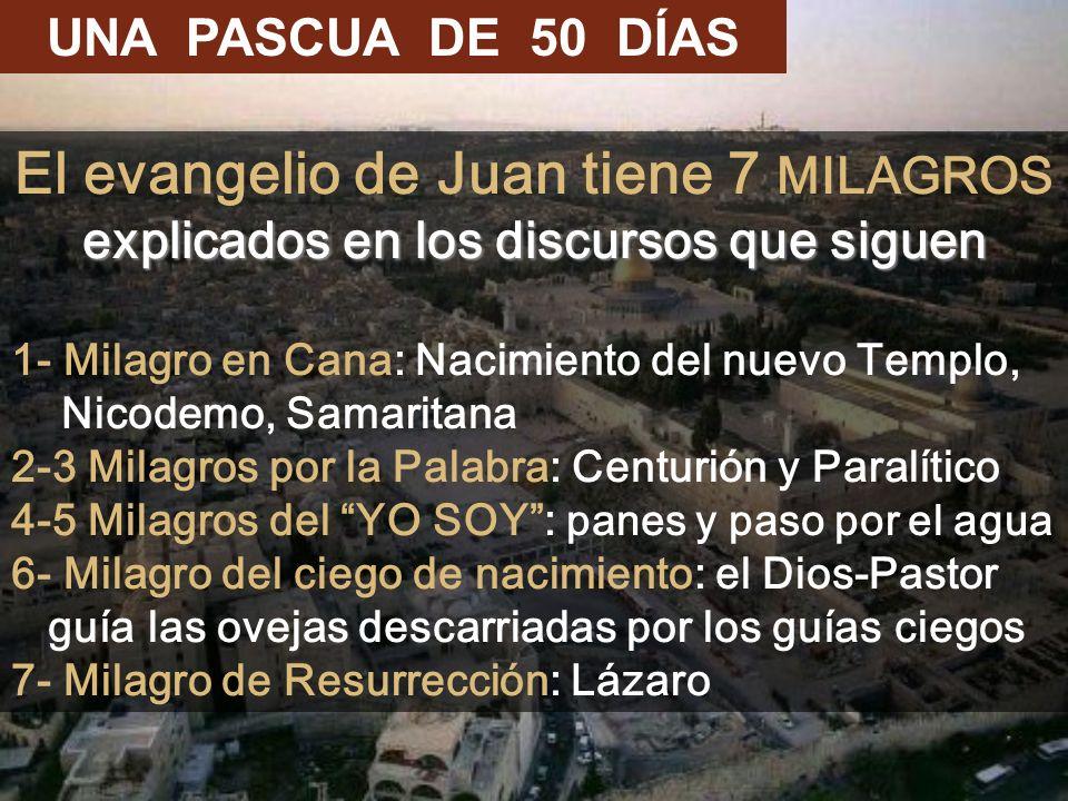 UNA PASCUA DE 50 DÍAS El evangelio de Juan tiene 7 MILAGROS explicados en los discursos que siguen.