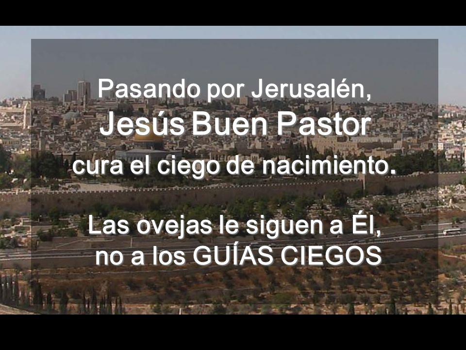 Pasando por Jerusalén, Jesús Buen Pastor cura el ciego de nacimiento