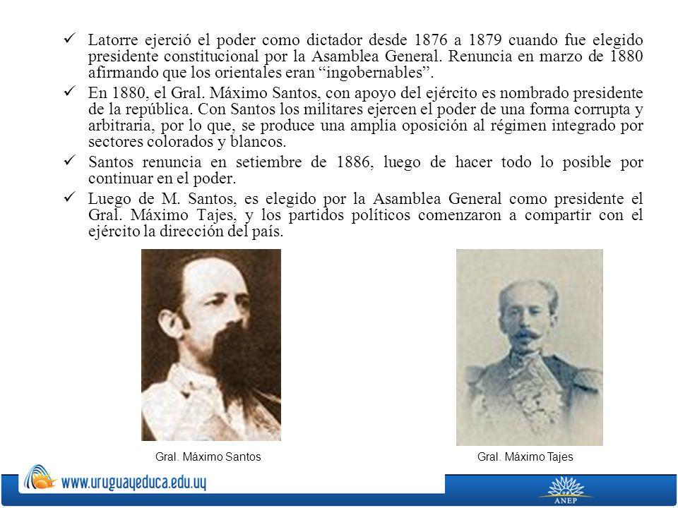 Latorre ejerció el poder como dictador desde 1876 a 1879 cuando fue elegido presidente constitucional por la Asamblea General. Renuncia en marzo de 1880 afirmando que los orientales eran ingobernables .