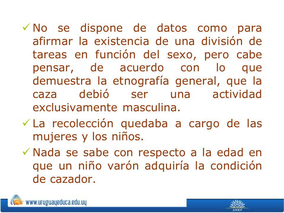 No se dispone de datos como para afirmar la existencia de una división de tareas en función del sexo, pero cabe pensar, de acuerdo con lo que demuestra la etnografía general, que la caza debió ser una actividad exclusivamente masculina.