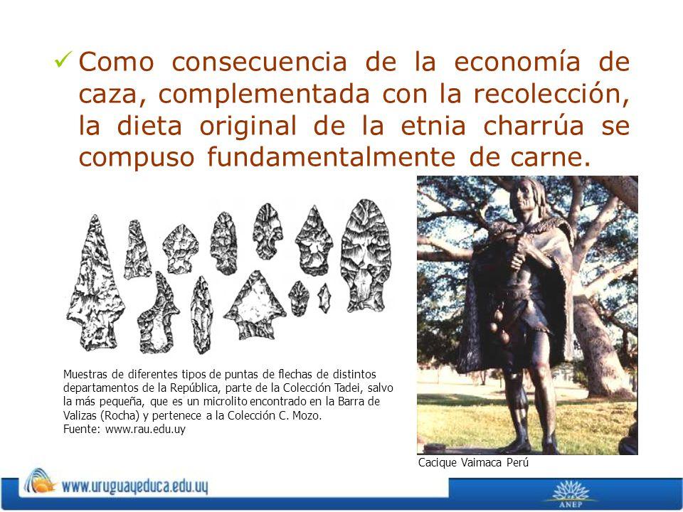 Como consecuencia de la economía de caza, complementada con la recolección, la dieta original de la etnia charrúa se compuso fundamentalmente de carne.