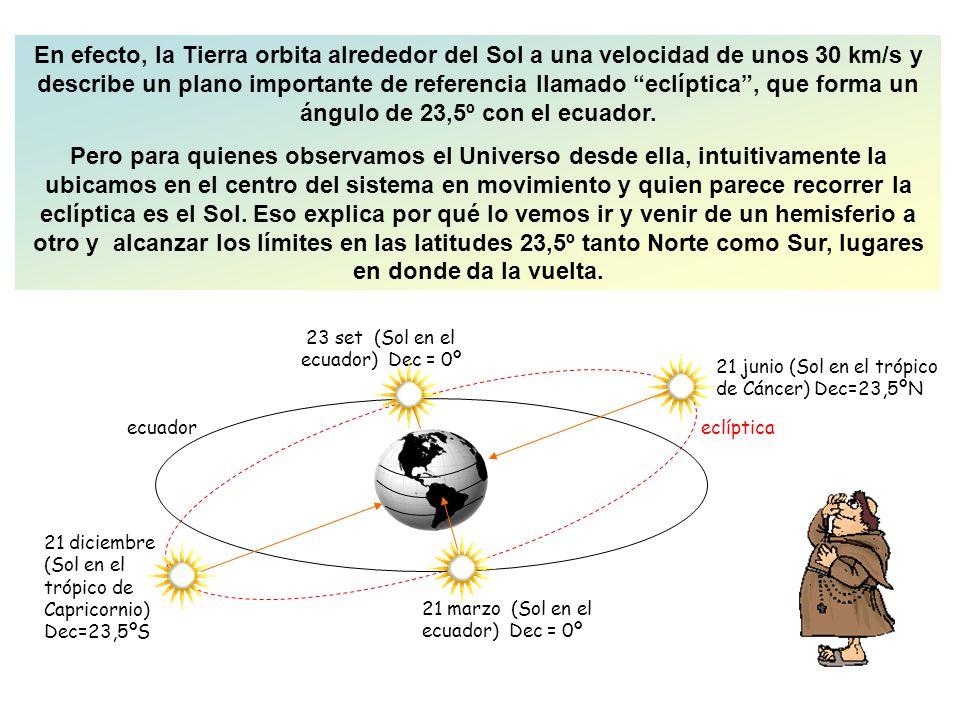 En efecto, la Tierra orbita alrededor del Sol a una velocidad de unos 30 km/s y describe un plano importante de referencia llamado eclíptica , que forma un ángulo de 23,5º con el ecuador.