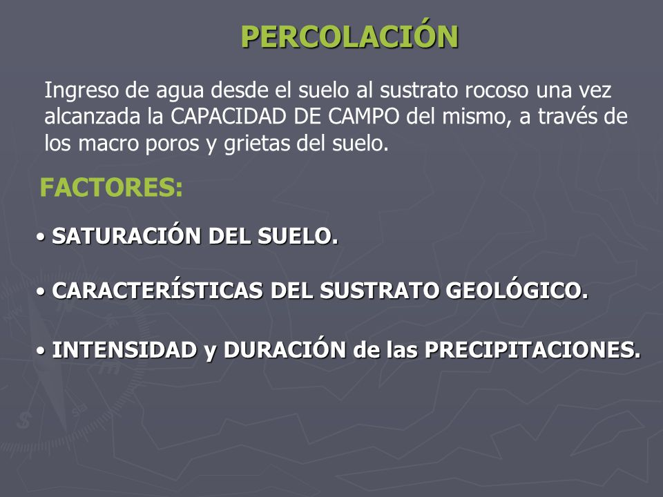 PERCOLACIÓN FACTORES: