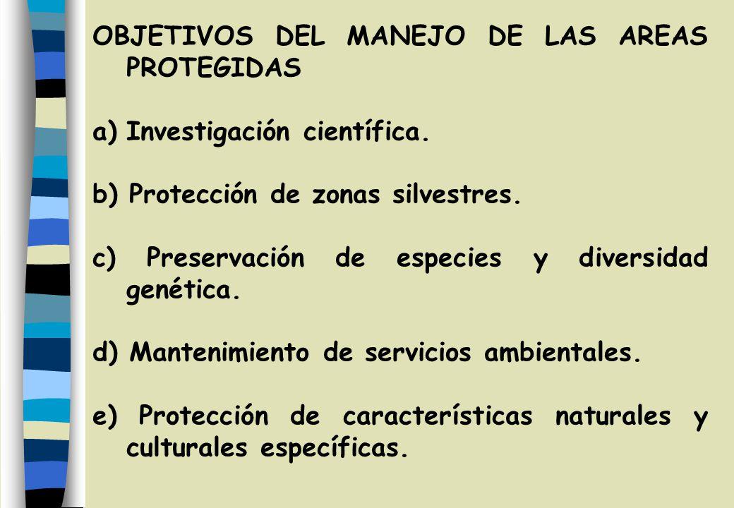 OBJETIVOS DEL MANEJO DE LAS AREAS PROTEGIDAS