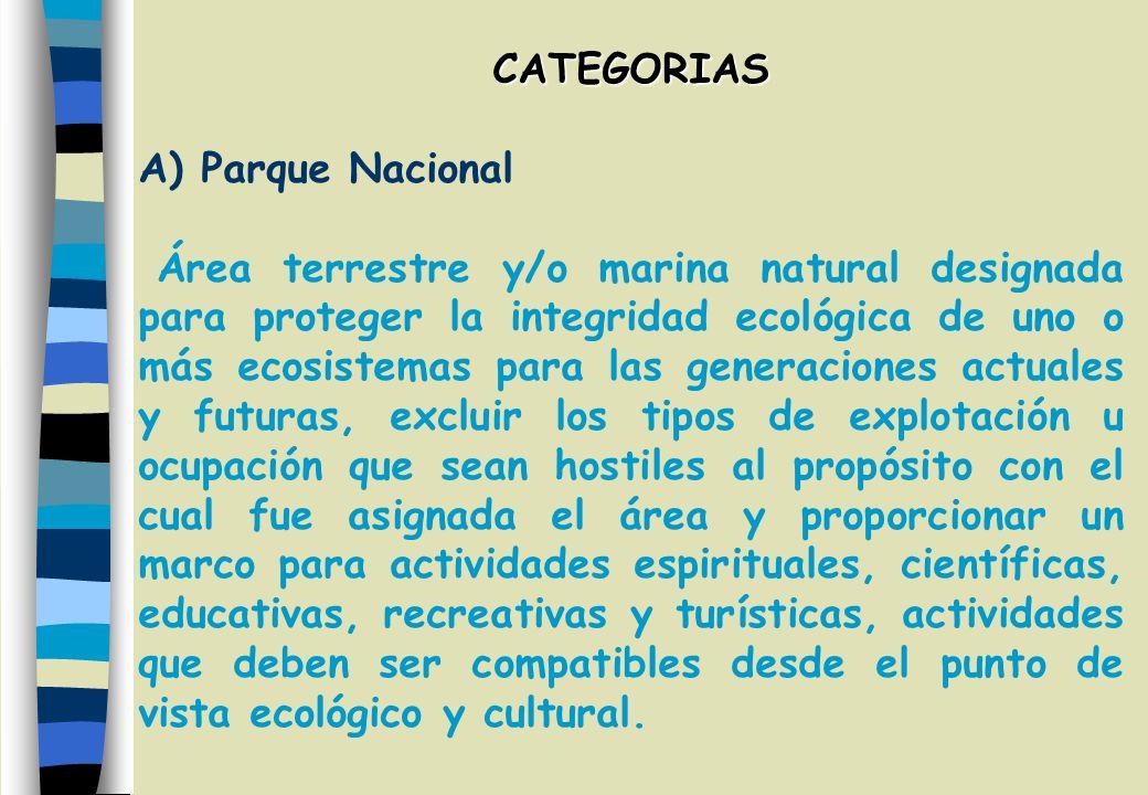 CATEGORIAS A) Parque Nacional.