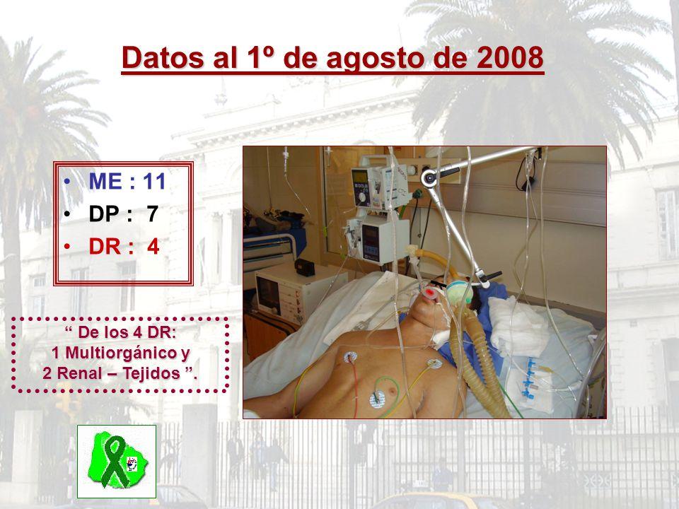 De los 4 DR: 1 Multiorgánico y 2 Renal – Tejidos .