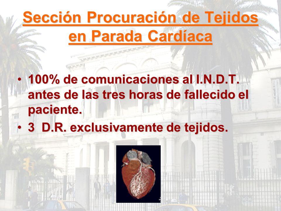 Sección Procuración de Tejidos en Parada Cardíaca