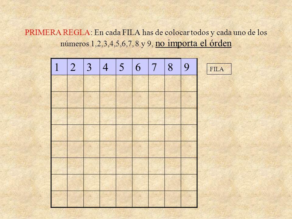 PRIMERA REGLA: En cada FILA has de colocar todos y cada uno de los números 1,2,3,4,5,6,7, 8 y 9, no importa el órden