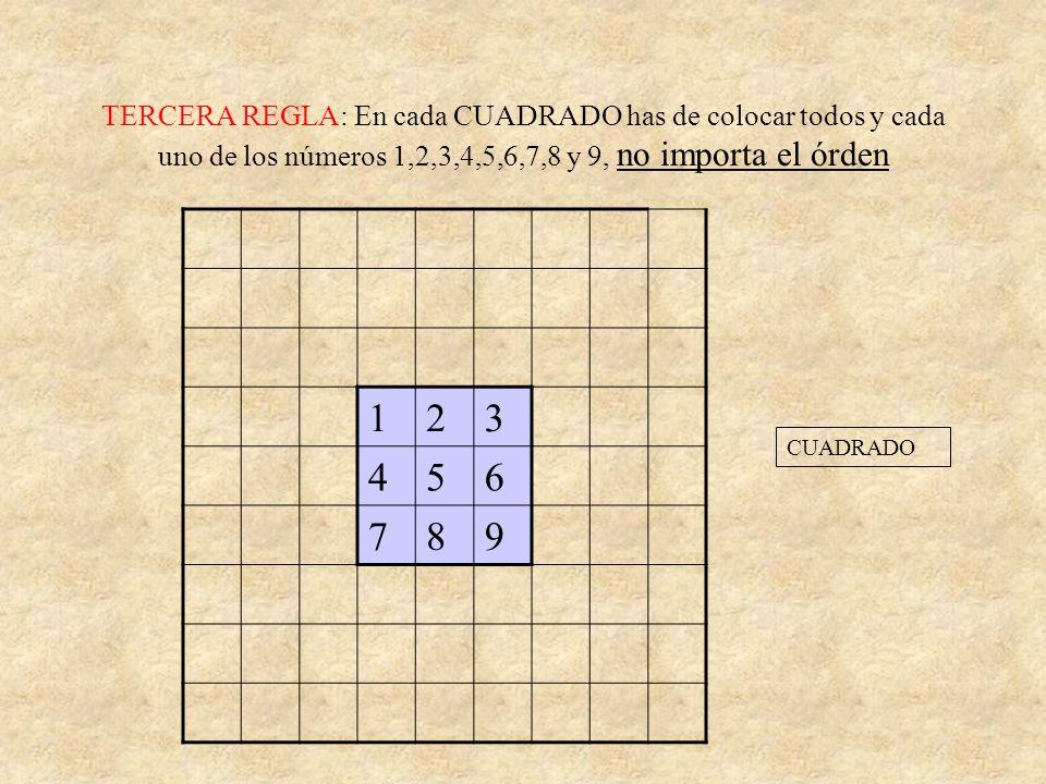 TERCERA REGLA: En cada CUADRADO has de colocar todos y cada uno de los números 1,2,3,4,5,6,7,8 y 9, no importa el órden