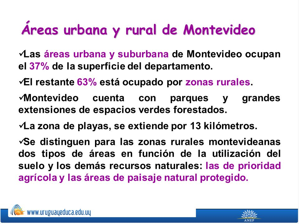Áreas urbana y rural de Montevideo