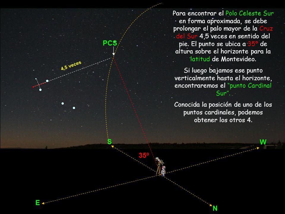 Para encontrar el Polo Celeste Sur en forma aproximada, se debe prolongar el palo mayor de la Cruz del Sur 4,5 veces en sentido del pie. El punto se ubica a 35º de altura sobre el horizonte para la latitud de Montevideo.