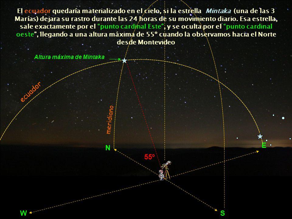 El ecuador quedaría materializado en el cielo, si la estrella Mintaka (una de las 3 Marías) dejara su rastro durante las 24 horas de su movimiento diario. Esa estrella, sale exactamente por el punto cardinal Este , y se oculta por el punto cardinal oeste , llegando a una altura máxima de 55º cuando la observamos hacia el Norte desde Montevideo