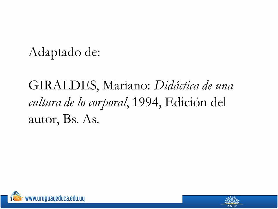 Adaptado de: GIRALDES, Mariano: Didáctica de una cultura de lo corporal, 1994, Edición del autor, Bs.