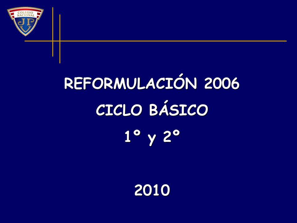 REFORMULACIÓN 2006 CICLO BÁSICO 1º y 2º 2010