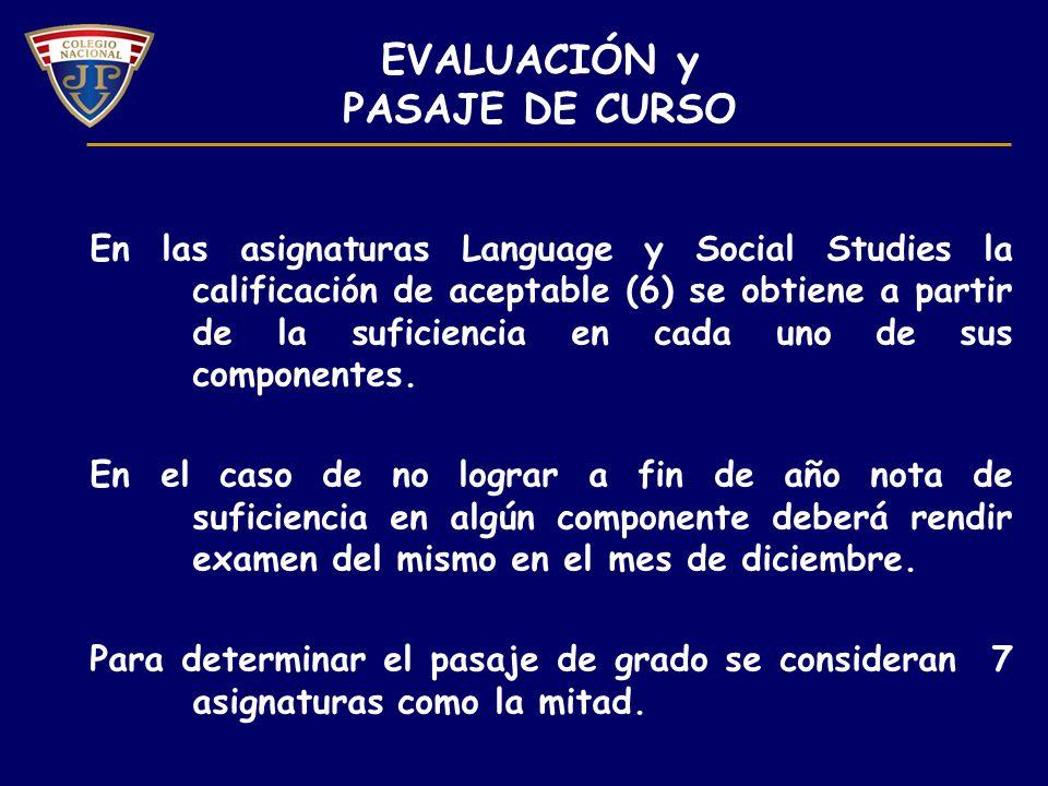 EVALUACIÓN y PASAJE DE CURSO