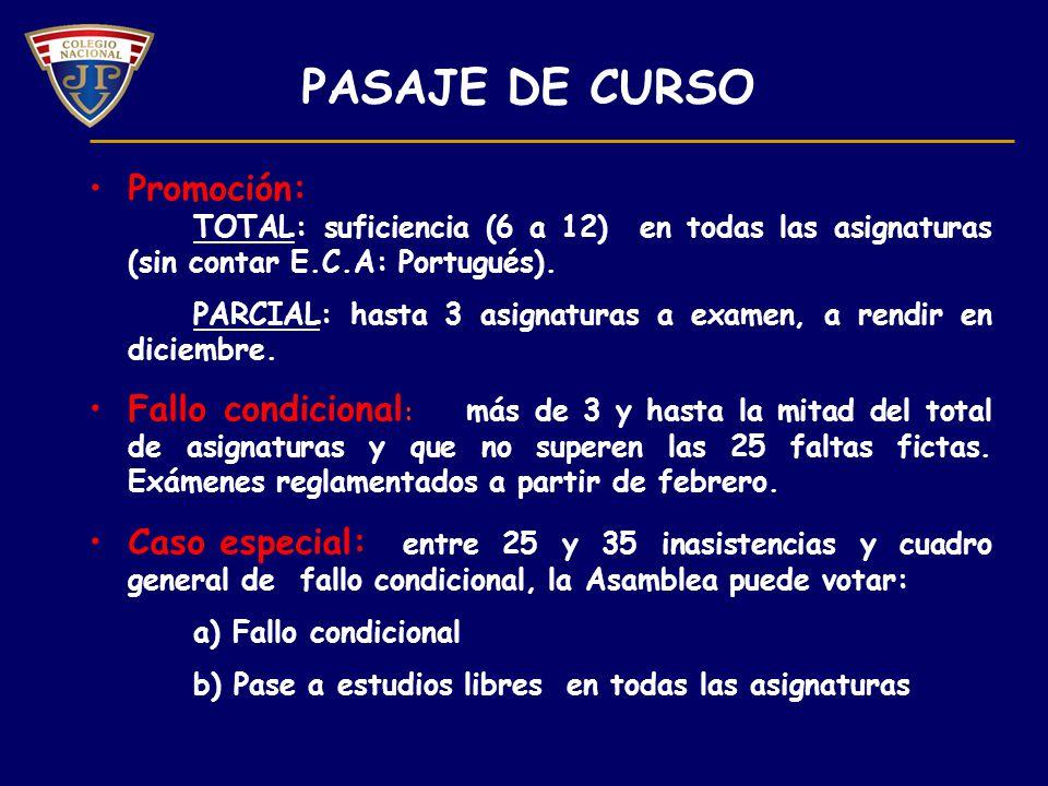 PASAJE DE CURSO Promoción: TOTAL: suficiencia (6 a 12) en todas las asignaturas (sin contar E.C.A: Portugués).