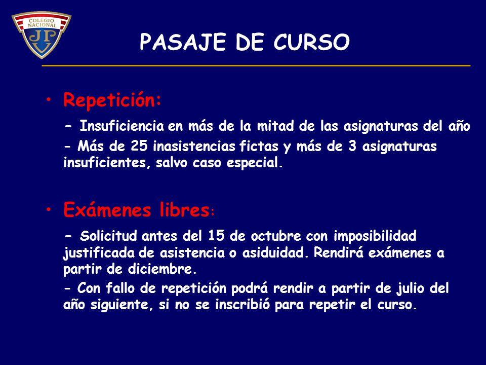 PASAJE DE CURSO Repetición: Exámenes libres: