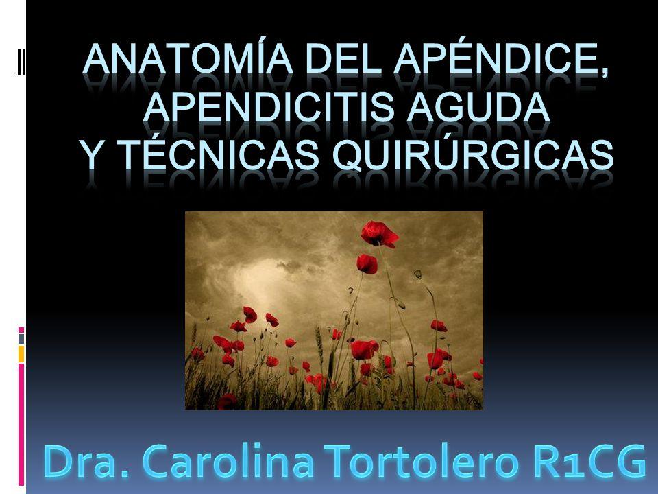 Anatomía del Apéndice, Apendicitis aguda y Técnicas quirúrgicas