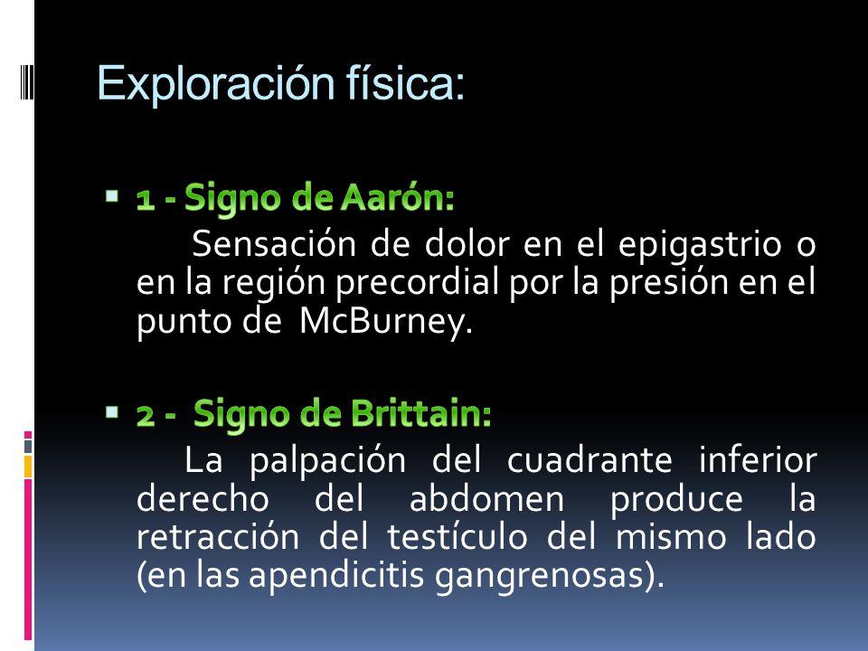 Exploración física: 1 - Signo de Aarón: