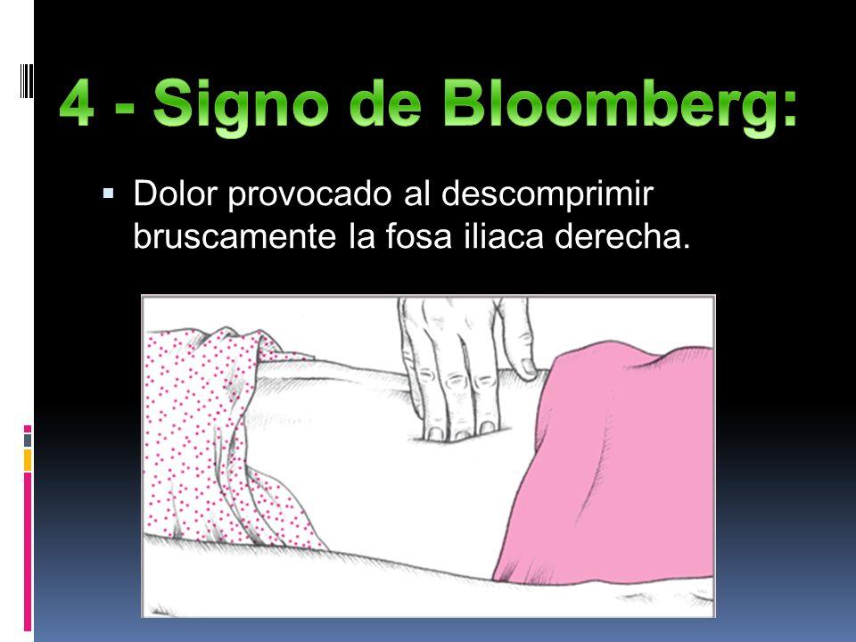 4 - Signo de Bloomberg: Dolor provocado al descomprimir bruscamente la fosa iliaca derecha.