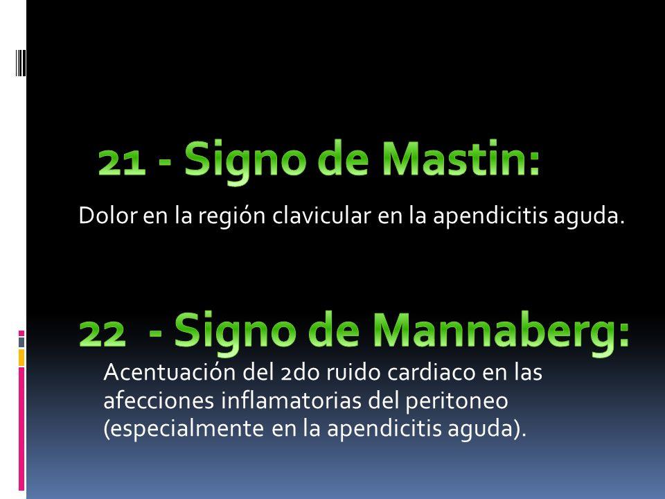 21 - Signo de Mastin: Dolor en la región clavicular en la apendicitis aguda.